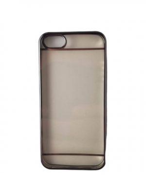 Силиконов калъф за iPhone 5C прозрачен със сребрист кант