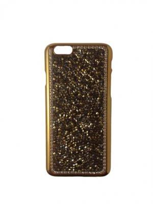Твърд калъф за iPhone 6/6S златист с камъчета
