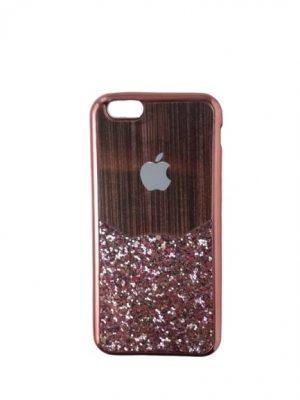 Силиконов калъф за iPhone 6/6S медно-розов блестящ