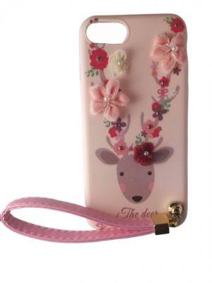 Силиконов калъф за iPhone 7/8 с цветя и елен розов