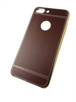 Калъф за iPhone 7/8 Plus изкуствена кожа кафяв със златист кант 2