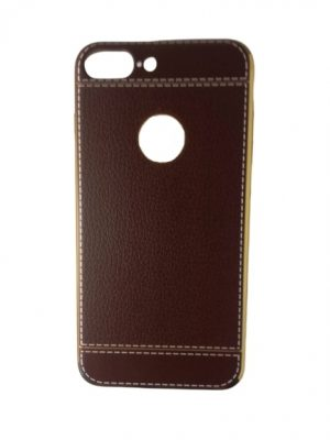 Калъф за iPhone 7/8 Plus изкуствена кожа кафяв със златист кант