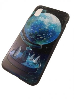 Калъф за iPhone X черен глобус 2