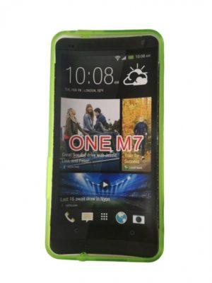 Твърд калъф за HTC One M7 прозрачен, зелен кант