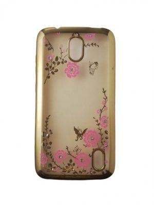 Силиконов калъф за Huawei Y625 прозрачен на цветя, златист кант