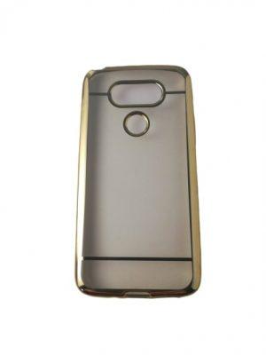 Силиконов прозрачен калъф за LG G5 със златист кант