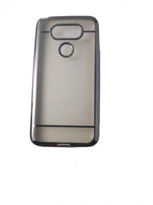 Силиконов прозрачен калъф за LG G5 със светло кафяв кант
