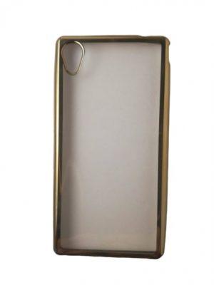 Силиконов прозрачен калъф за Sony Xperia M4 Aqua със златист кант