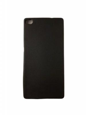 Силиконов калъф за Huawei P8 черен имитация на кожа