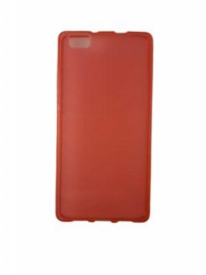 Силиконов калъф за Huawei P8 Lite червен прозрачен