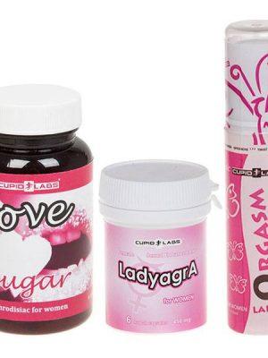 Love sugar захар за възбужадане за жени + LadyagrA възбуждащи хапчета + Orgasm Lady възбуждащ лубрикант