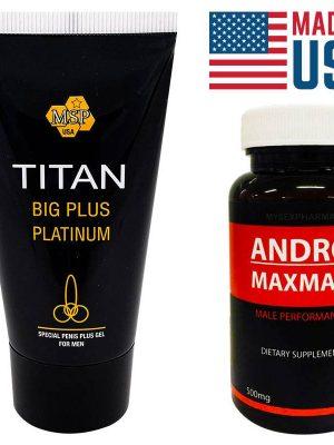 Titan Gel за уголемяване на пениса + Andro Maxman таблетки уголемяващи пениса